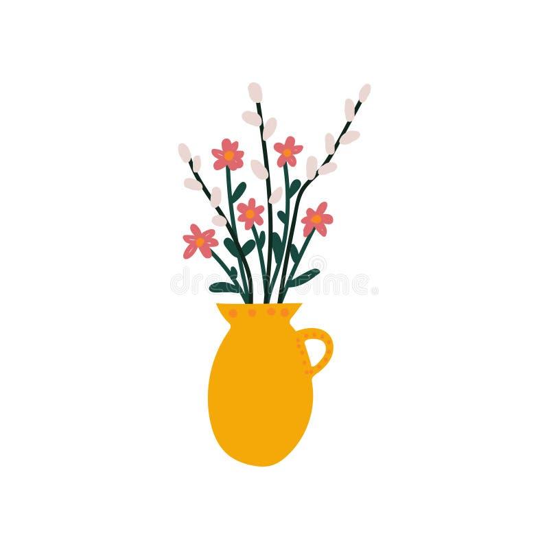 Vårblommor och kvistar av pilen i vasen, härlig bukett av vektorillustrationen för nya blommor stock illustrationer