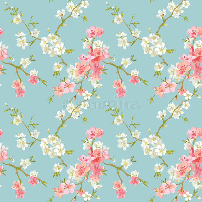 Vårblomningen blommar bakgrund royaltyfri illustrationer