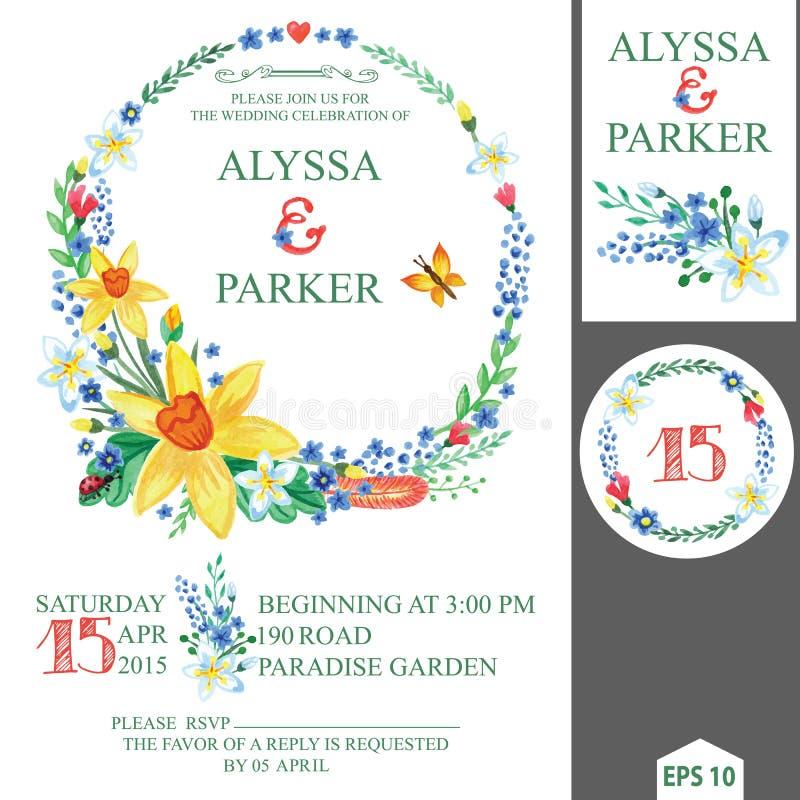 Vårbröllopinbjudan med den blom- kransen royaltyfri illustrationer