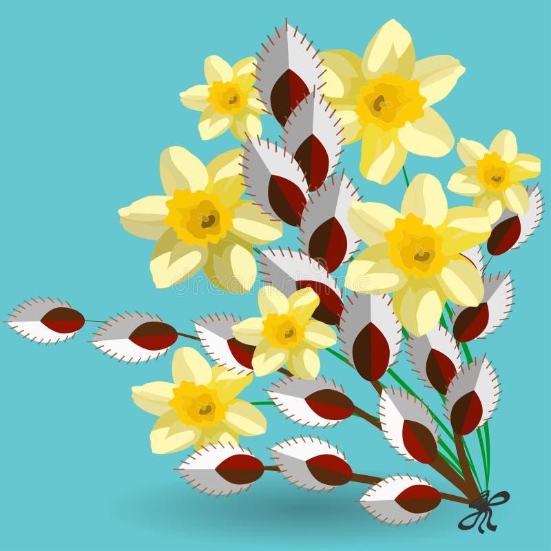 Vårbukett av påsklilja- och för pussypil blommor vektor illustrationer
