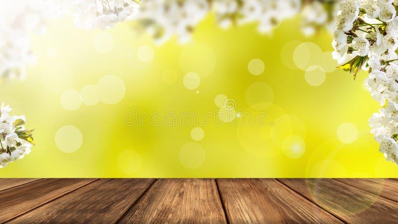 VårCherry Blossom Background With Rustic trätabell i förgrund fotografering för bildbyråer