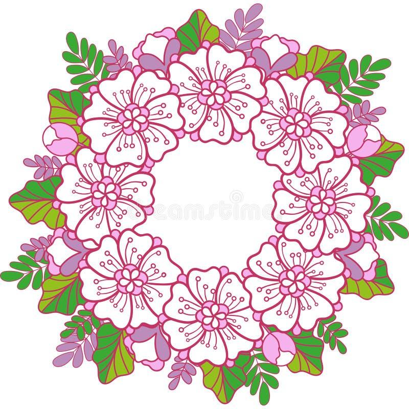 Vårcirkelmandalaen blommar och spricker ut kransen stock illustrationer
