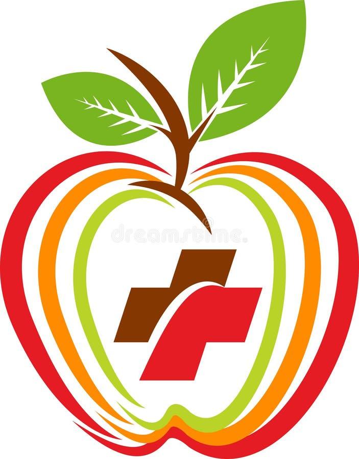 Vård- äpplelogo stock illustrationer