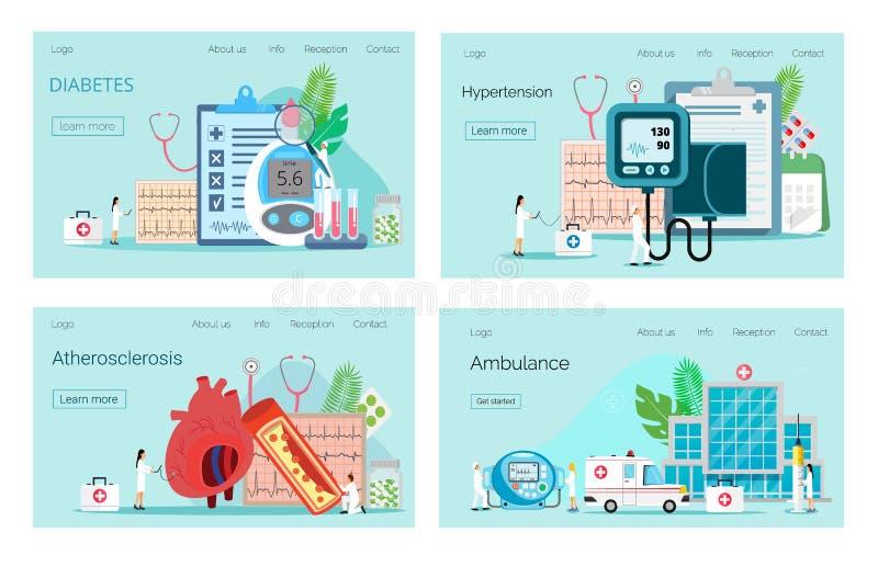 Vård- begrepp av hypotension, typ - 2 sockersjuka stock illustrationer