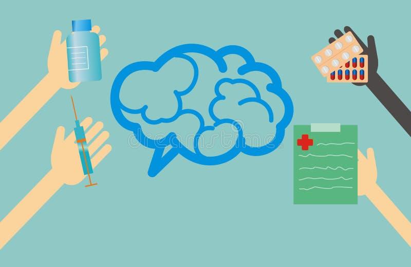 Vård- begrepp - tidsbeställningen av behandling för hjärnan royaltyfri illustrationer