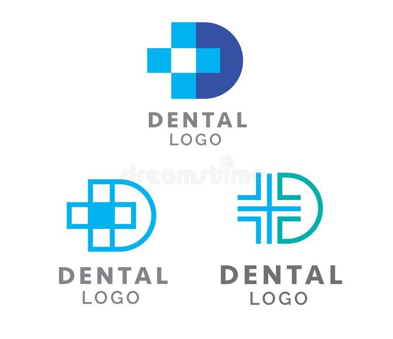 Vård- D logoer för tand- tandläkare stock illustrationer