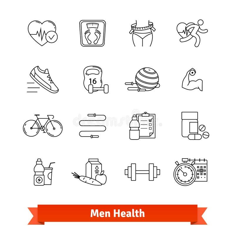 Vård- kondition och män Tunn linje konstsymbolsuppsättning stock illustrationer
