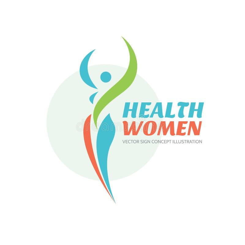 Vård- kvinnor - vektorlogomall sunt tecken Symbol för skönhetsalong Illustration för konditionkvinnabegrepp mänskligt tecken royaltyfri illustrationer