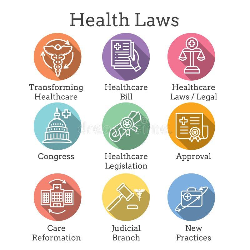 Vård- lagar och laglig symbolsuppsättning som visar olika aspekter av rättsligt system vektor illustrationer