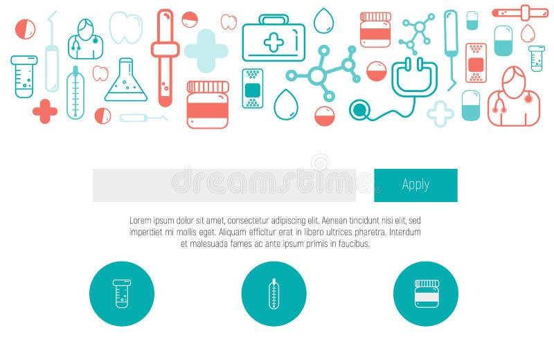 Vård- mall för rengöringsdukdesign med den tunna linjen symboler, doktor app, digital medicin Diagram för enkel design för sjukvå royaltyfri illustrationer
