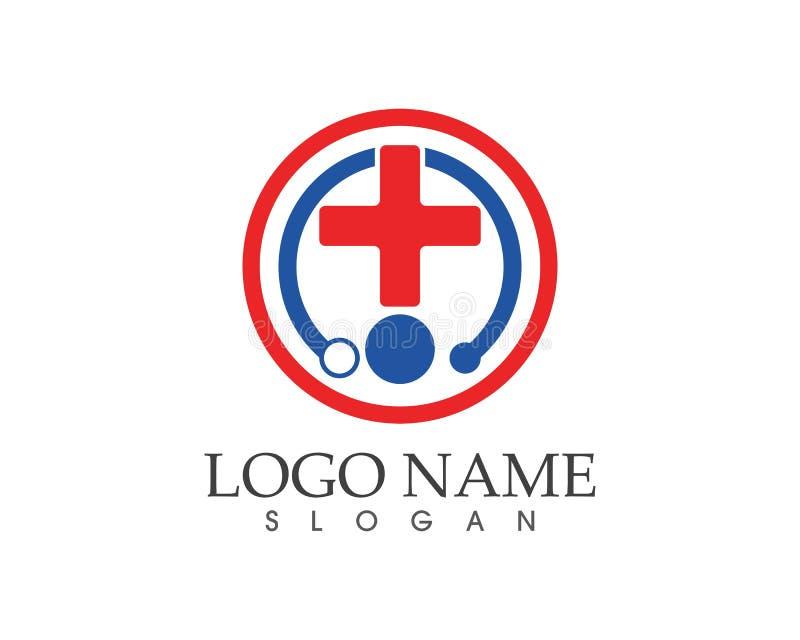 Vård- medicinsk logomall stock illustrationer