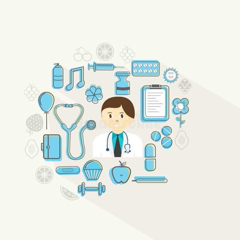 Vård- och medicinskt begrepp med doktorn och olika objekt stock illustrationer