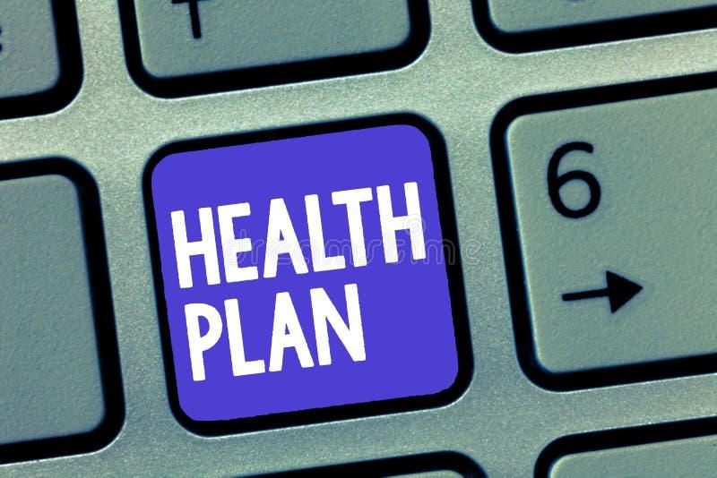 Vård- plan för ordhandstiltext Affärsidé för någon strategi som erbjuder medicinsk service till dess medlemmar arkivfoto