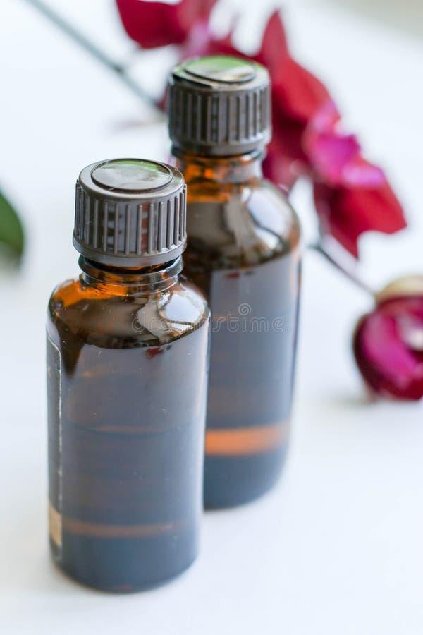 Vård- produkter och skönhetsmedel Växt- och mineralisk hudomsorg En krus av olja, mörka kosmetiska flaskor utan en etikett arkivbilder