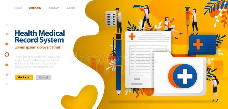 Vård- sjukdomshistoriasystem mapp med den arga symbol- och registreringsformen vektorillustrationbegreppet kan vara bruk för att  stock illustrationer