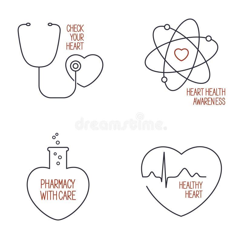 Vård- symbolsuppsättning för hjärta vektor illustrationer