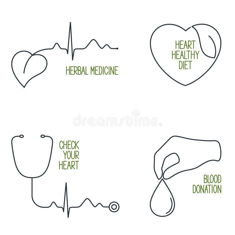 Vård- symbolsuppsättning för hjärta stock illustrationer
