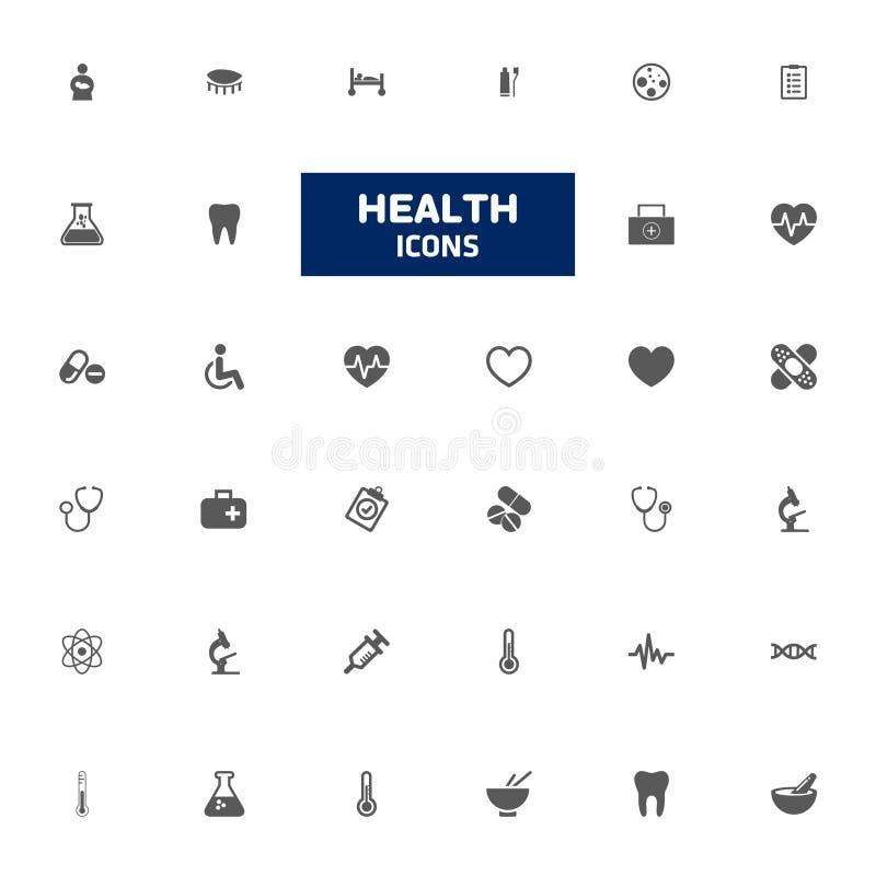 Vård- symbolsuppsättning Vektorlinje design Symbol för medicinska utrustningar royaltyfri illustrationer