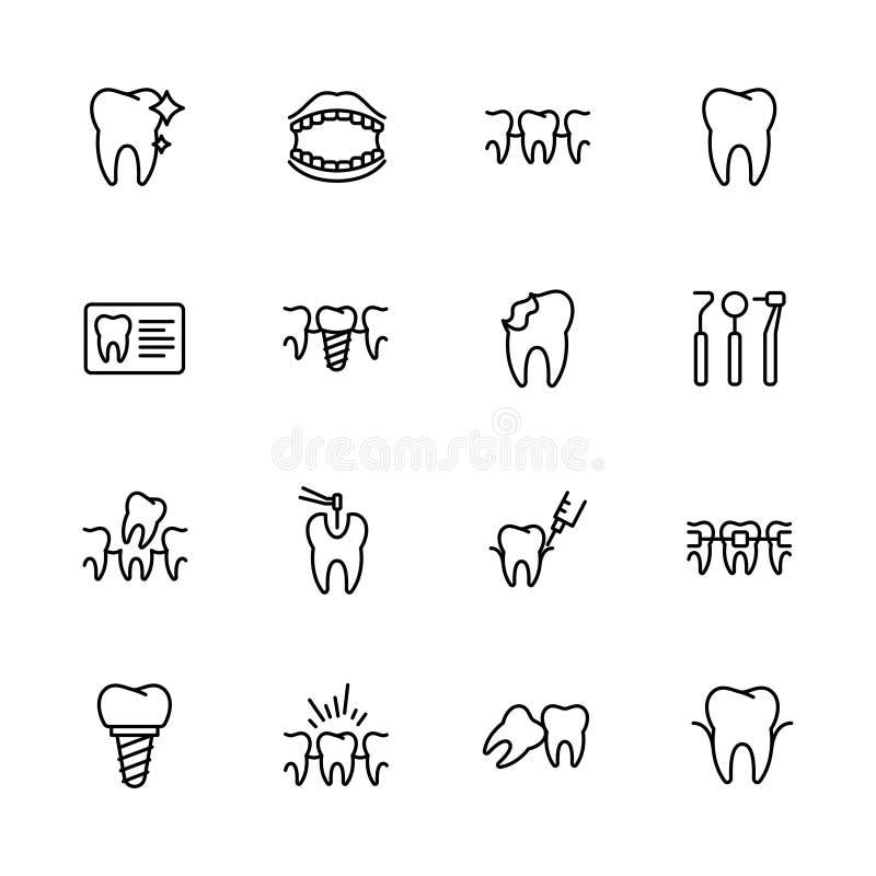 Vård- tänder, tand- behandling, stomatology, uppsättning för symboler för symbol för medicinsk klinik enkel Innehåller symbolstan vektor illustrationer