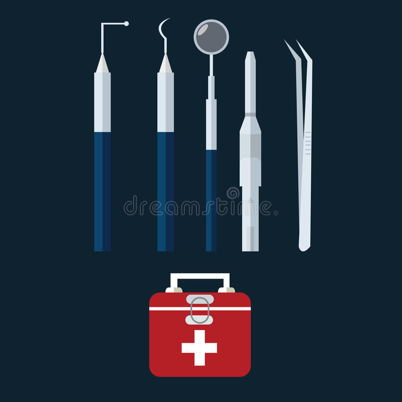 Vård- tand- tänder för utrustning för uppsättning för läkarundersökning för påse för symbol för vektor för tandläkarehjälpmedelob royaltyfri illustrationer