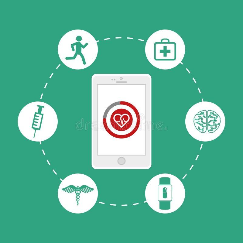 Vård- teknologidesign stock illustrationer