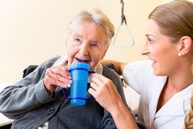 Vårda att ge drinken till den äldre kvinnan i rullstol royaltyfria bilder