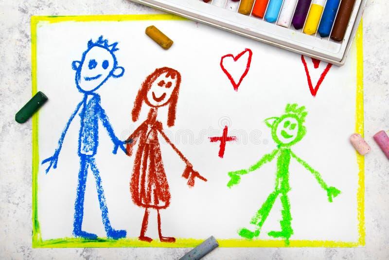 Vårda familjen Ett le par och deras adoptiv- barn vektor illustrationer