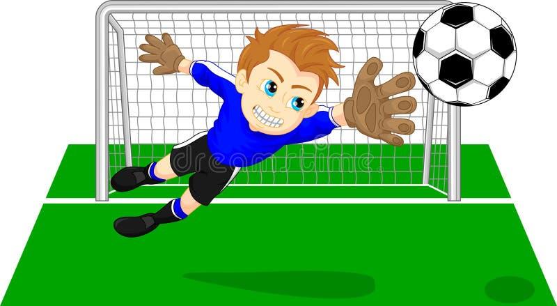Vårdare för fotbollfotbollmål som sparar ett mål royaltyfri illustrationer