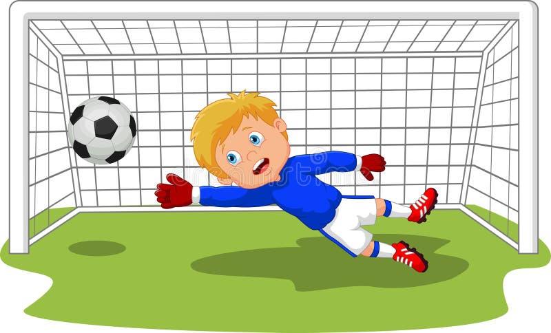 Vårdare för goalie för tecknad filmfotbollfotboll som sparar ett mål vektor illustrationer