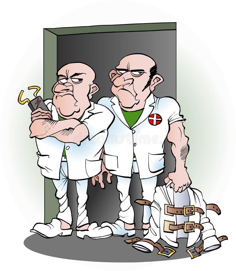 Vårdare från det mentala sjukhuset vektor illustrationer