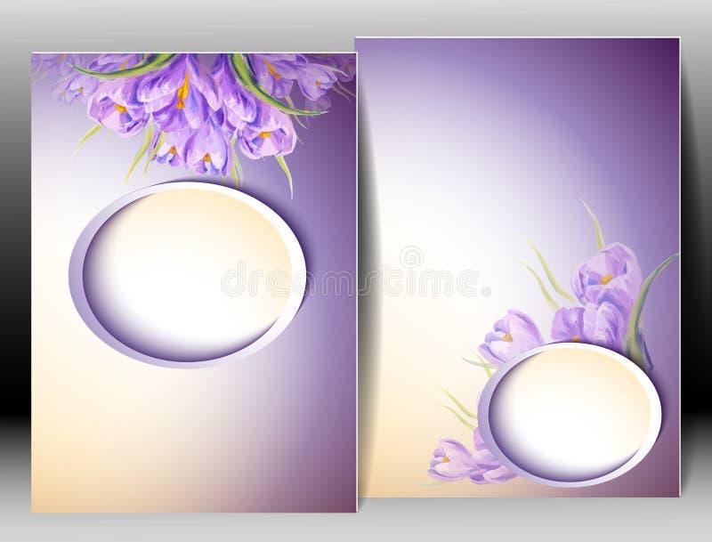 Våren blommar inbjudanmallkortet royaltyfri illustrationer
