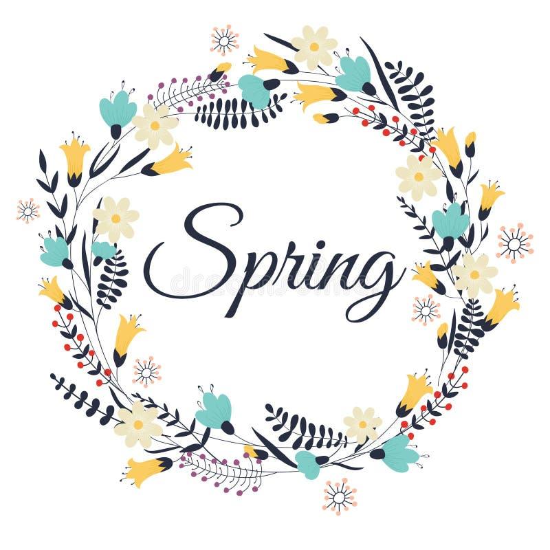 Våren blommar, sidor, maskrosen, gräs Design för inbjudan, vektor illustrationer