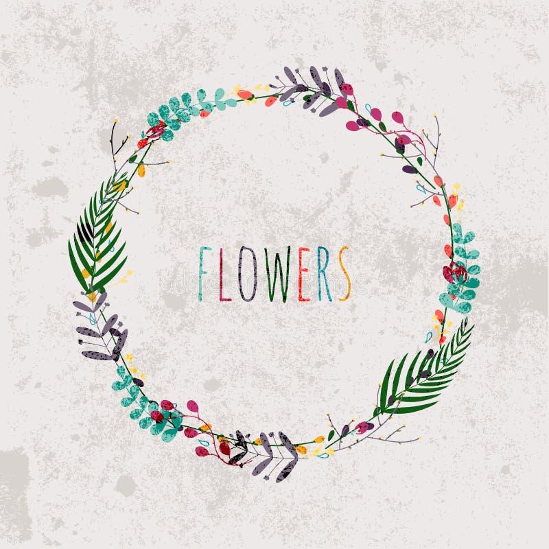 Våren blommar, sidor, maskrosen, gräs på en tappningbakgrund vektor illustrationer