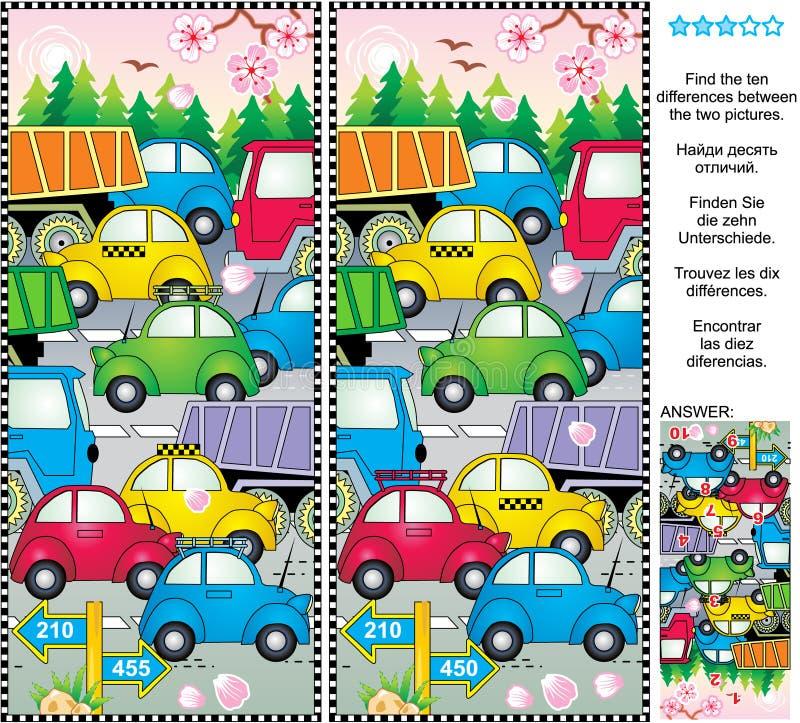 Våren eller sommartrafikstockning finner skillnadbildgåtan royaltyfri illustrationer