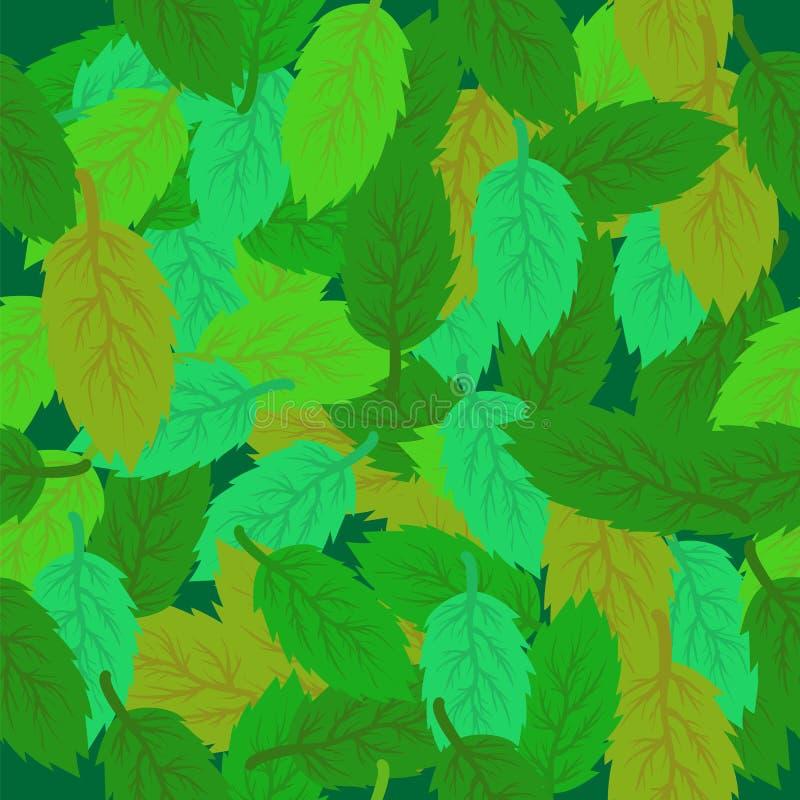 Våren lämnar sömlös bakgrund Grönt nytt lämnar stock illustrationer