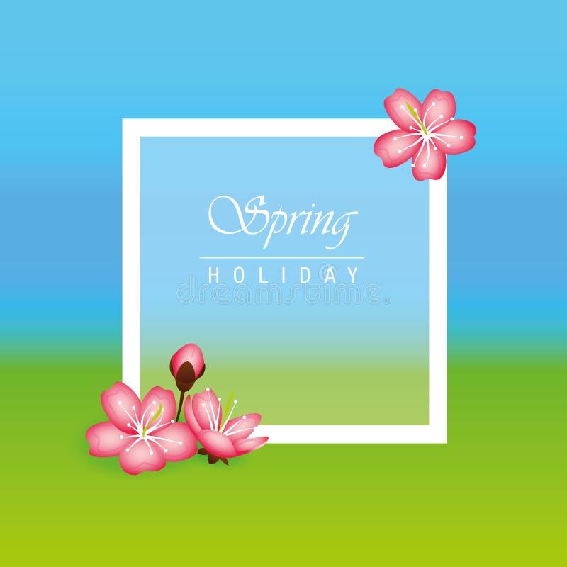 Våren semestrar bakgrund med rosa blommor för den körsbärsröda blomningen royaltyfri illustrationer