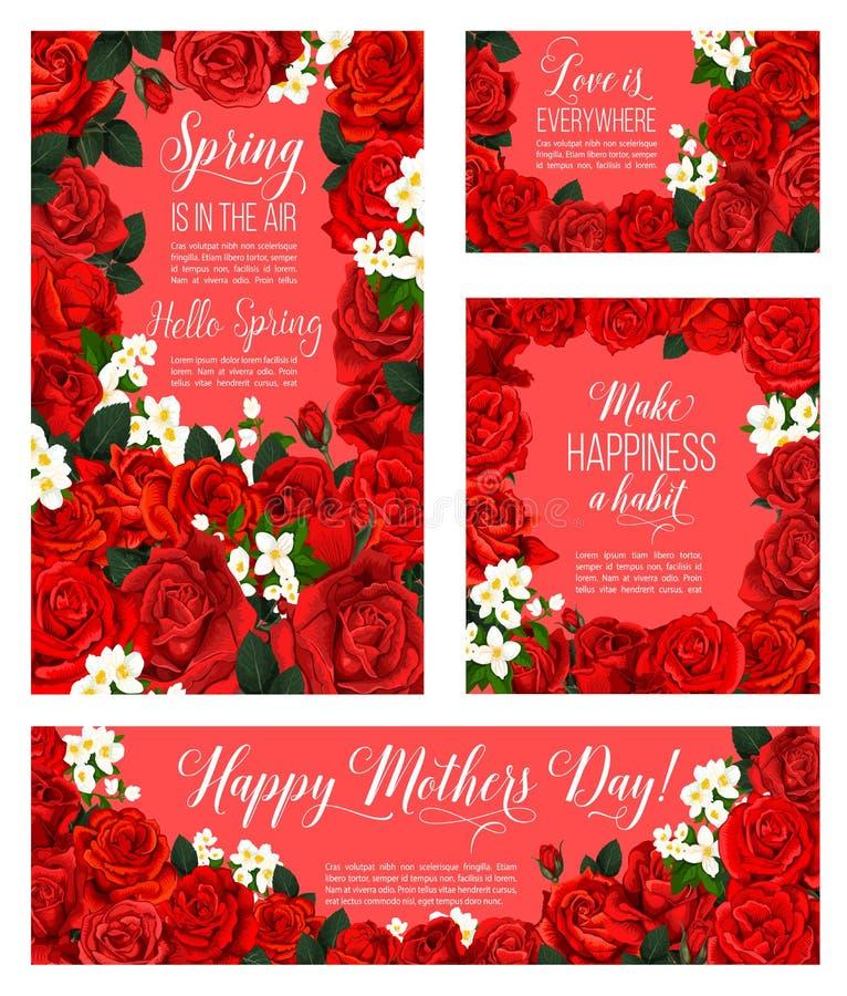 Våren steg blommakortet för mors dagferie royaltyfri illustrationer