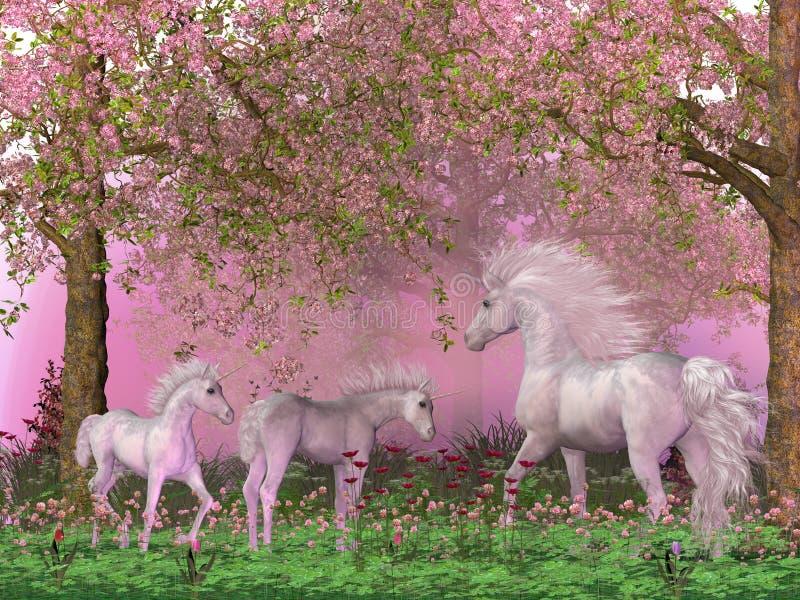 Vårenhörningar royaltyfri illustrationer