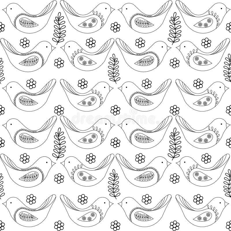 Vårfåglar sömlös modell, svartvit teckning för vektor stock illustrationer