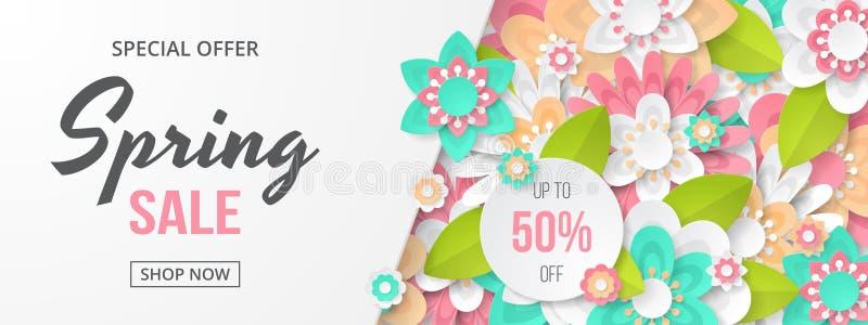 Vårförsäljningsbaner med den härliga färgrika blomman royaltyfri illustrationer