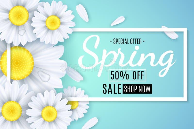 Vårförsäljningsbaner Vita blommor av kamomillen på ett ljus - blå bakgrund Säsongsbetonad affisch Bevattna tappar Specialt erbjud royaltyfri illustrationer
