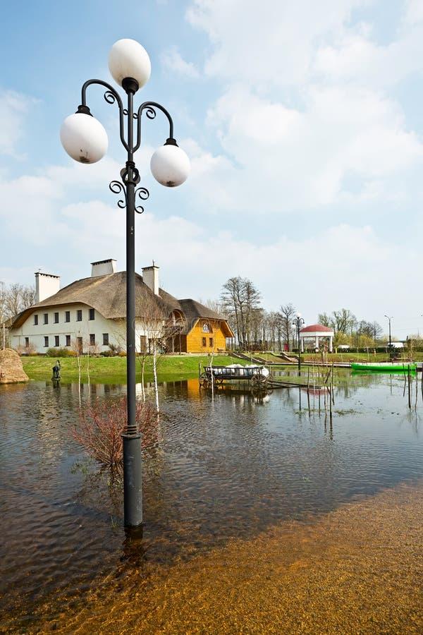 Vårflod, Vitryssland arkivbild