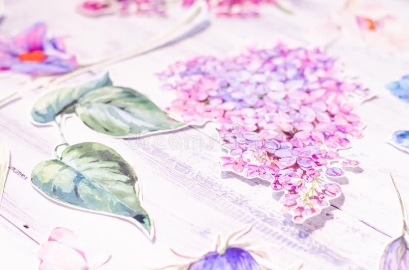 Vårgarnering med vattenfärgblommor royaltyfria foton