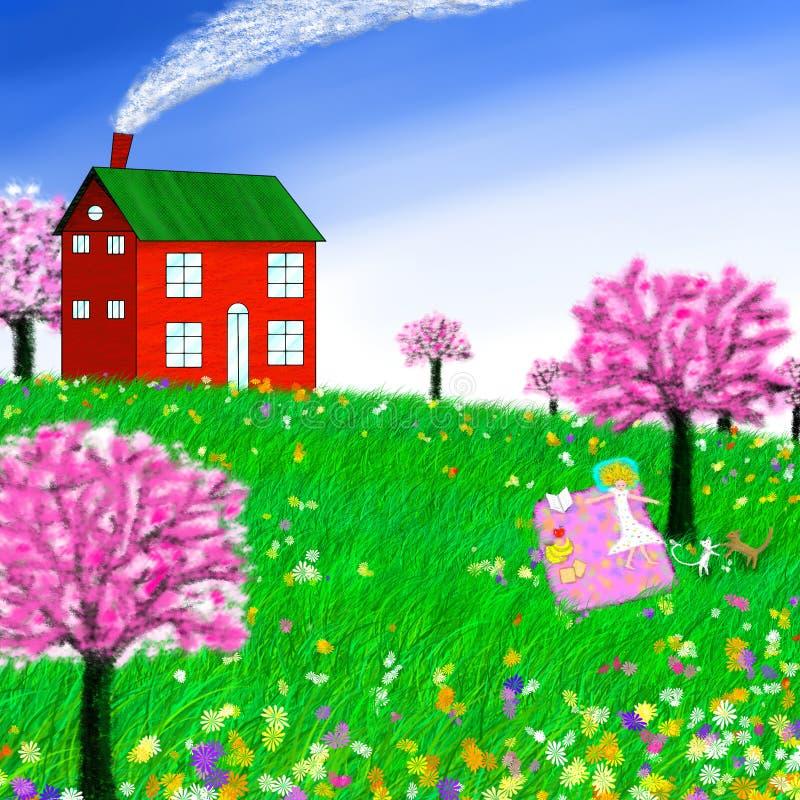 Vårgrässlätt vektor illustrationer