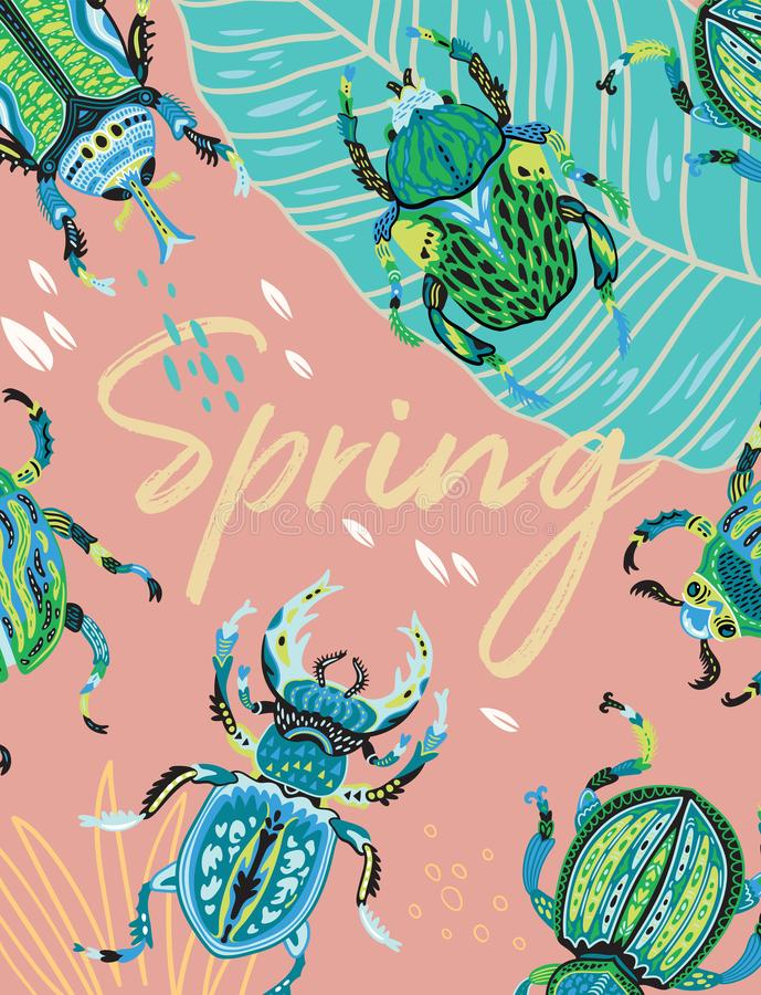 Vårhälsningkort med dekorativa skalbaggar också vektor för coreldrawillustration royaltyfri illustrationer