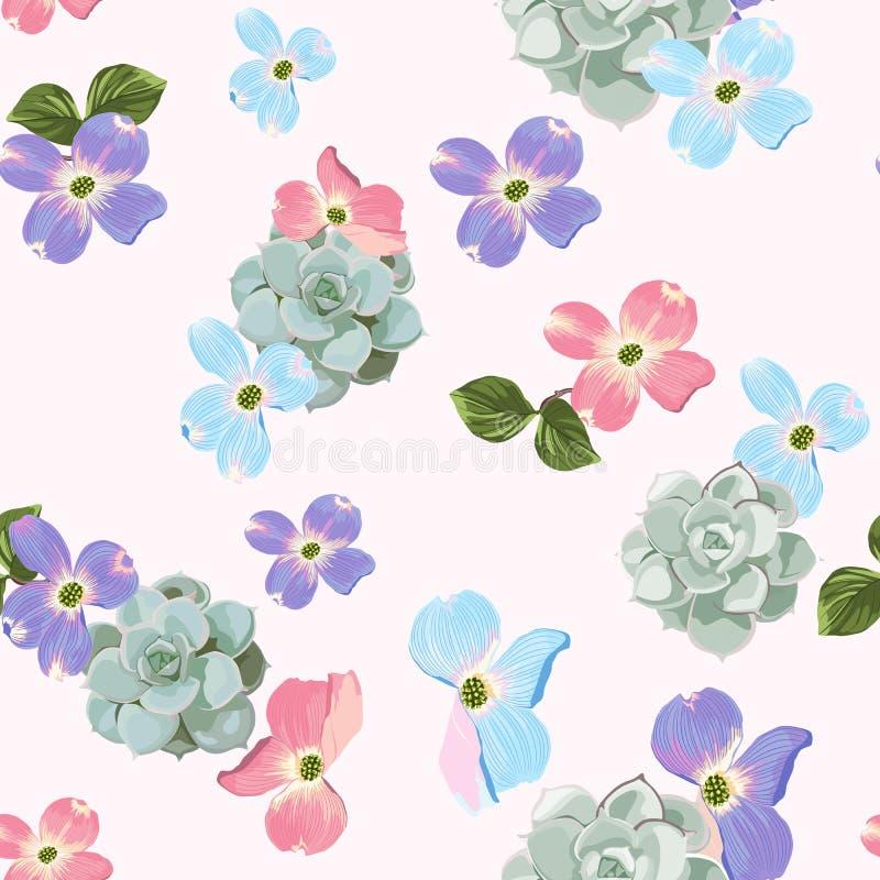 Vårhösten blommar den sömlösa modellen Blom- bakgrund för vattenfärgstil vektor illustrationer