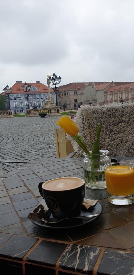 Vårhelgmorgon i Timisoara Rumänien på ett kaffeställe i fyrkant för Unirii fyrkantunion royaltyfri fotografi
