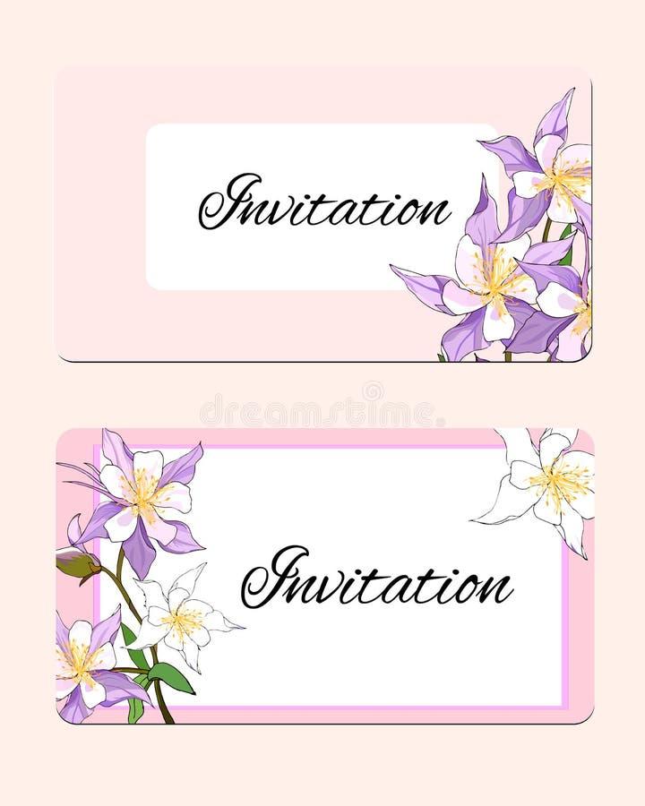 Vårkort med delikata blommor Vektorillustration av rosa och vita blommor vektor illustrationer