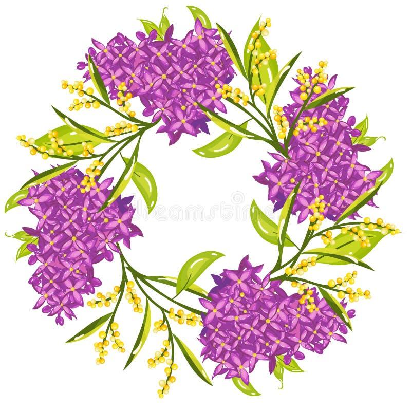Vårkrans med blommor för mimosaans-lila stock illustrationer