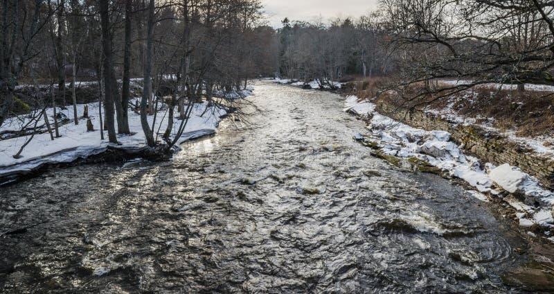 Vårlandskap med en liten flod arkivbilder